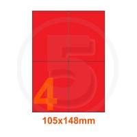 Etichette adesive pastello 105x148mm color Rosso