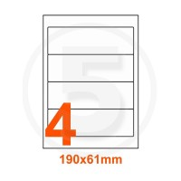 Etichette adesive 190x61 Bianche, con bordino di sicurezza