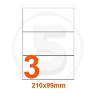Etichette adesive 210x99 Bianche, con bordino di sicurezza