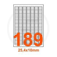 Etichette adesive 25,4x10 Bianche, con bordino di sicurezza