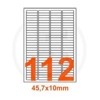 Etichette adesive 45,7x10 Bianche, con bordino di sicurezza
