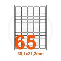 Etichette adesive 38,1x21,2 Bianche, con bordino di sicurezza