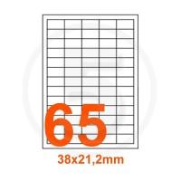 Etichette adesive 38x21,2 Bianche, con bordino di sicurezza