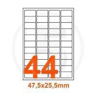 Etichette adesive 47,5x25,5 Bianche, con bordino di sicurezza