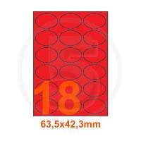 Etichette adesive pastello 63,5x42,3mm color Rosso