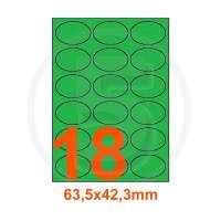 Etichette adesive pastello 63,5x42,3mm color Verde