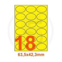 Etichette adesive pastello 63,5x42,3mm color Giallo