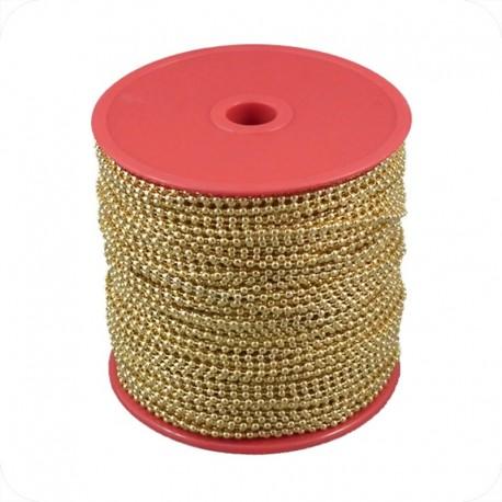 Catenella a pallini in bobina, diametro 2,4mm, ottonata