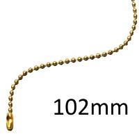 Catenella a palline, diametro sfera 2,4mm, lunghezza 102mm, ottonata