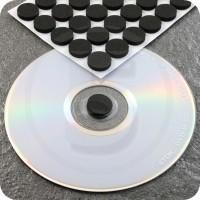 Bollini in schiuma autoadesivi porta CD, Nero