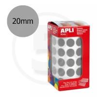 Etichette adesive rotonde color Argento. Bollini tondi diametro 20mm