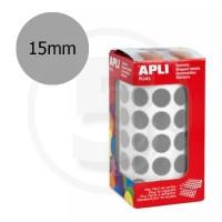 Etichette adesive rotonde color Argento. Bollini tondi diametro 15mm