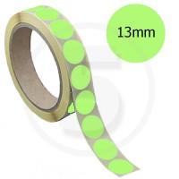 Bollini adesivi colorati diametro 13mm. Etichette adesive rotonde color Verde Chiaro