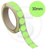 Bollini adesivi colorati diametro 30mm. Etichette adesive rotonde color Verde Chiaro