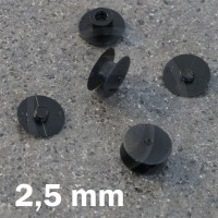 Rivetto in plastica - Bottone a pressione 2,5 mm, Nero,testa sottile