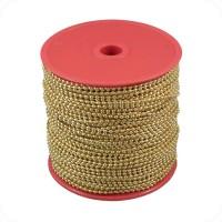 Catenella a pallini in bobina, diametro 2,4mm, in ottone color oro