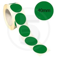 Bollini adesivi colorati diametro 40mm. Etichette adesive rotonde color Verde Scuro