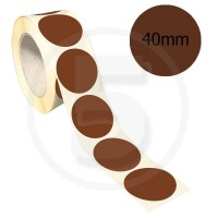 Bollini adesivi colorati diametro 40mm. Etichette adesive rotonde color Marrone