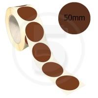Bollini adesivi colorati diametro 50mm. Etichette adesive rotonde color Marrone