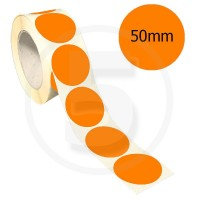 Bollini adesivi colorati diametro 50mm. Etichette adesive rotonde color Arancione