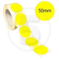 Bollini adesivi colorati diametro 50mm. Etichette adesive rotonde color Giallo