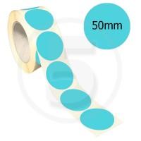 Bollini adesivi colorati diametro 50mm. Etichette adesive rotonde color Celeste