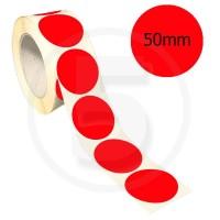 Bollini adesivi colorati diametro 50mm. Etichette adesive rotonde color Rosso