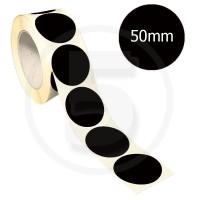 Bollini adesivi colorati diametro 50mm. Etichette adesive rotonde color Nero