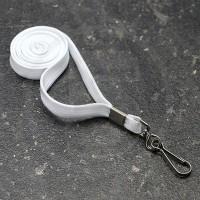 Cordini porta badge con gancio girevole in metallo, Bianco