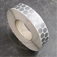 Bollini adesivi colorati in tessuto diametro 15mm. Etichette adesive rotonde color Argento