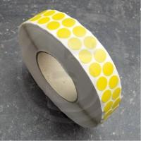 Bollini adesivi colorati in tessuto diametro 15mm. Etichette adesive rotonde color Giallo