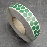 Bollini adesivi colorati in tessuto diametro 15mm. Etichette adesive rotonde color Verde