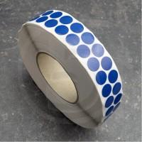 Bollini adesivi colorati in tessuto diametro 15mm. Etichette adesive rotonde color Blu