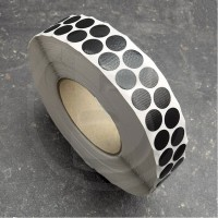 Bollini adesivi colorati in tessuto diametro 15mm. Etichette adesive rotonde color Nero
