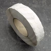 Bollini adesivi colorati in tessuto diametro 15mm. Etichette adesive rotonde color Bianco