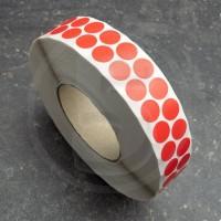 Bollini adesivi colorati in tessuto diametro 15mm. Etichette adesive rotonde color Rosso