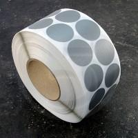 Bollini adesivi colorati in tessuto diametro 30mm. Etichette adesive rotonde color Argento