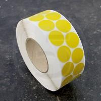 Bollini adesivi colorati in tessuto diametro 30mm. Etichette adesive rotonde color Giallo