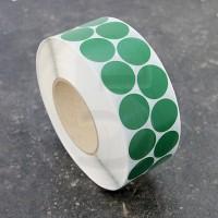 Bollini adesivi colorati in tessuto diametro 30mm. Etichette adesive rotonde color Verde