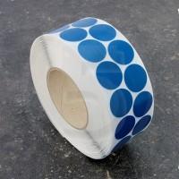 Bollini adesivi colorati in tessuto diametro 30mm. Etichette adesive rotonde color Blu