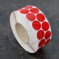 Bollini adesivi colorati in tessuto diametro 30mm. Etichette adesive rotonde color Rosso