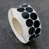 Bollini adesivi colorati in tessuto diametro 30mm. Etichette adesive rotonde color Nero