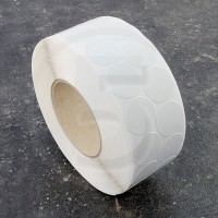 Bollini adesivi colorati in tessuto diametro 30mm. Etichette adesive rotonde color Bianco