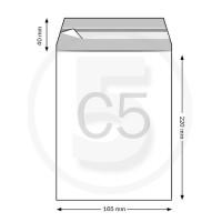 Sacchetti con chiusura adesiva, formato C5 165x220mm, in PP 50micron