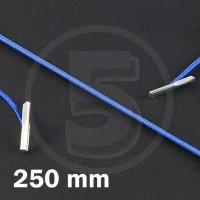 Cordino elastico rotondo con terminali in metallo, lunghezza 250mm, Blu medio