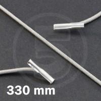 Cordino elastico rotondo con terminali in metallo, lunghezza 330mm, Grigio