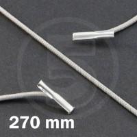 Cordino elastico rotondo con terminali in metallo, lunghezza 270mm, Grigio