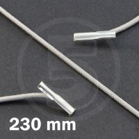 Cordino elastico rotondo con terminali in metallo, lunghezza 230mm, Grigio