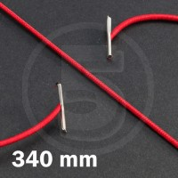 Cordino elastico rotondo con terminali in metallo, lunghezza 340mm, Rosso