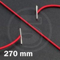 Cordino elastico rotondo con terminali in metallo, lunghezza 270mm, Rosso